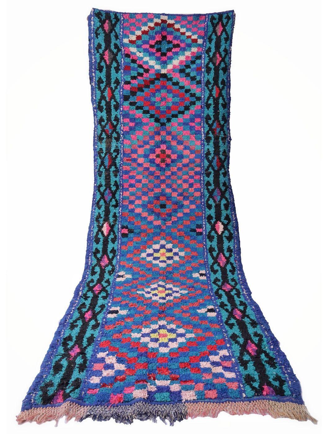 Tapis Berbère Boucherouite vintage 316 x 112 cm