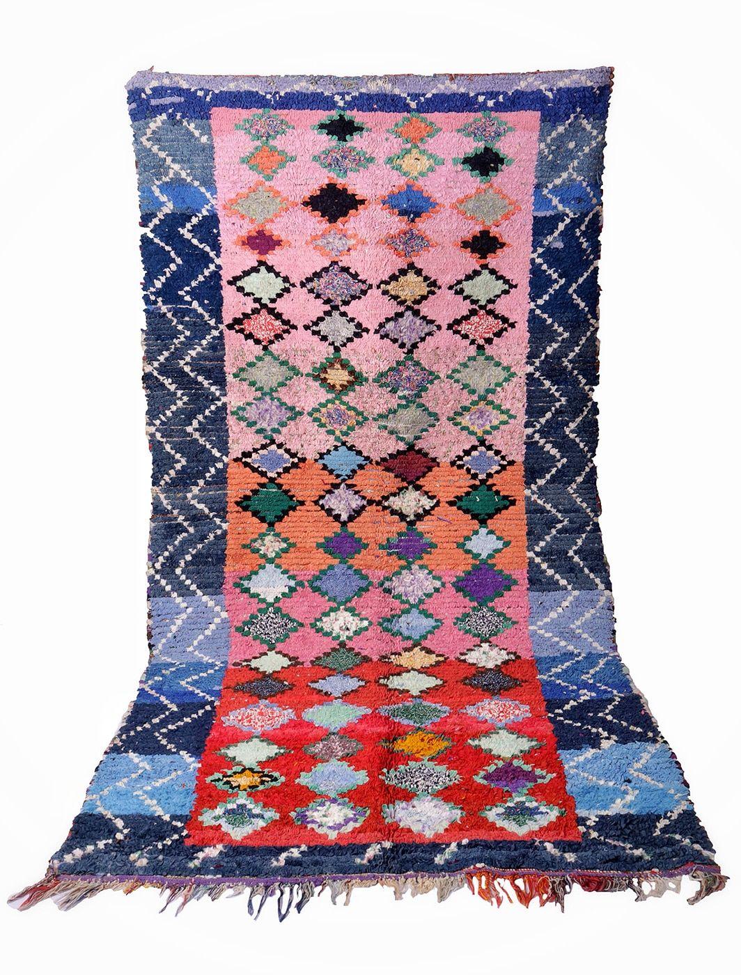 Tapis Boucherouite vintage losange 280 X 145 cm