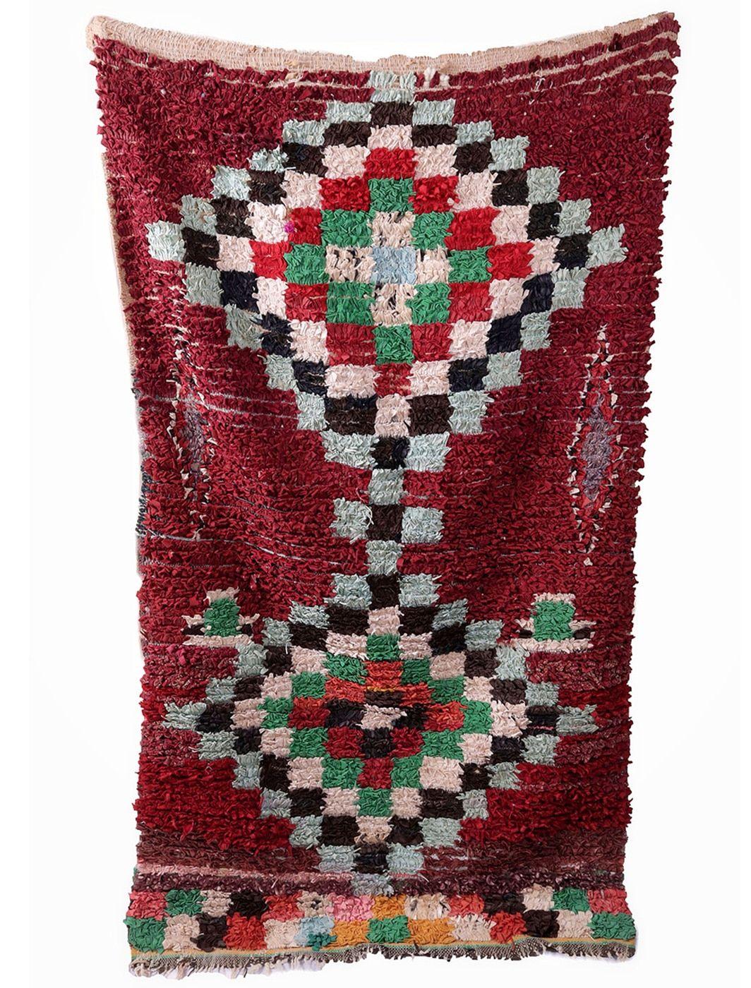 Tapis Boucherouite vintage 185 X 103 cm