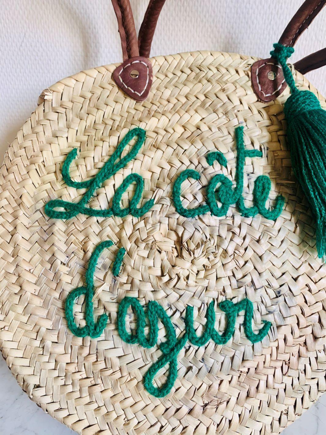 """Sac en osier """"La Côte d'Azur"""" Vert fait main"""