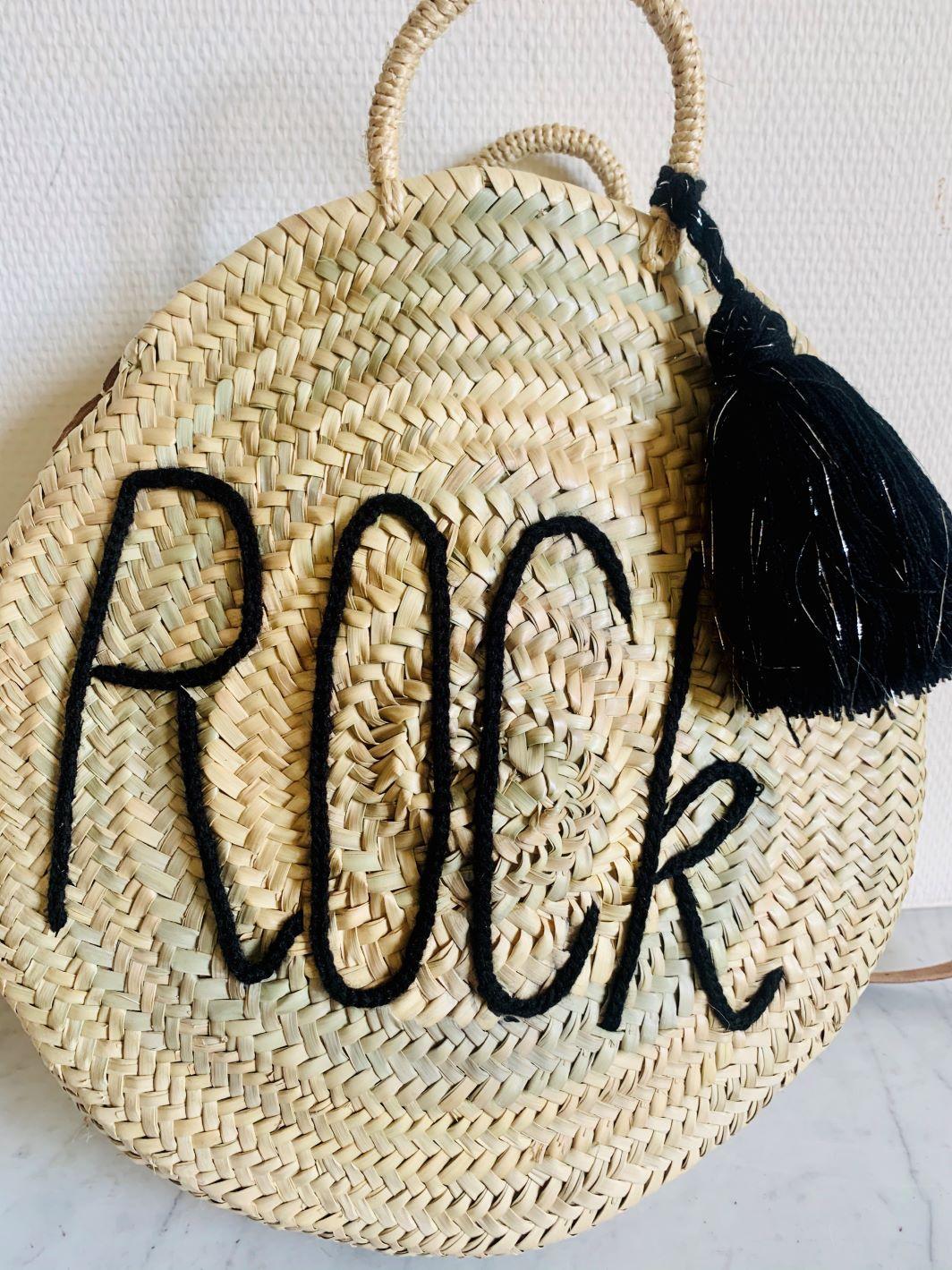 "Sac en osier ""Rock"" Noir fait main"